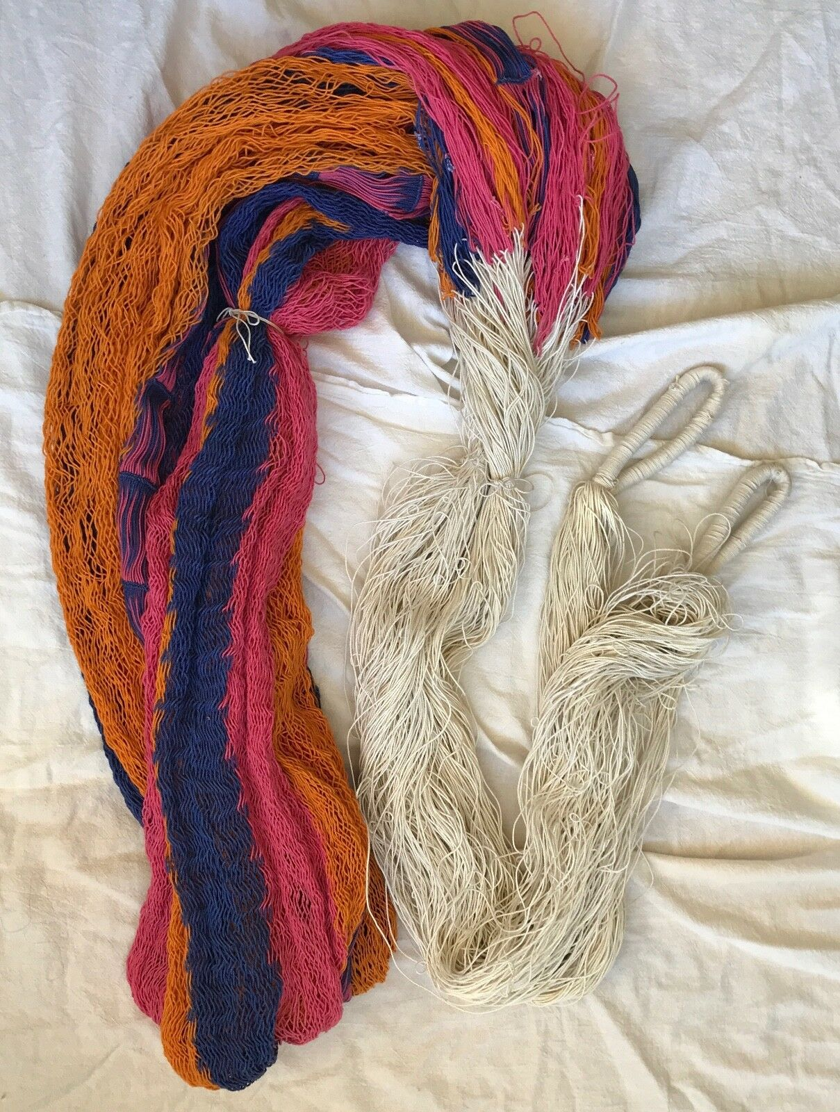 Vintage Vintage Vintage NEW 100% Cotton Rainbow Rope Hammock 1605ea