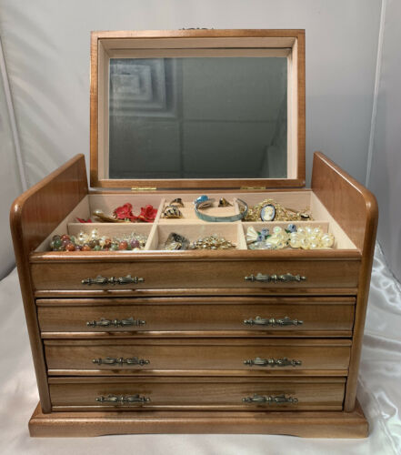 Jewelry Box Filled With Vintage Costume Jewelry