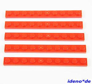 LEGO-Tecnico-Basico-City-Construccion-5-UNIDADES-placa-1-x-10-ROJO-RED-4477