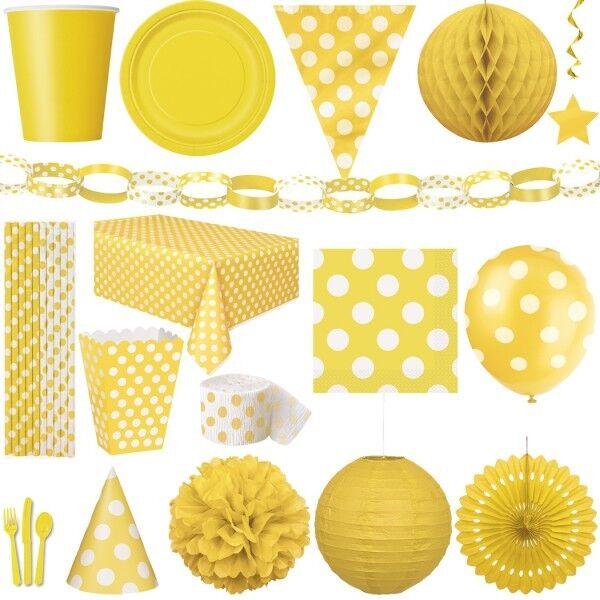 Gelbe Punkte Party Geburtstag Dekoration Kindergeburtstag Deko gelb Motto