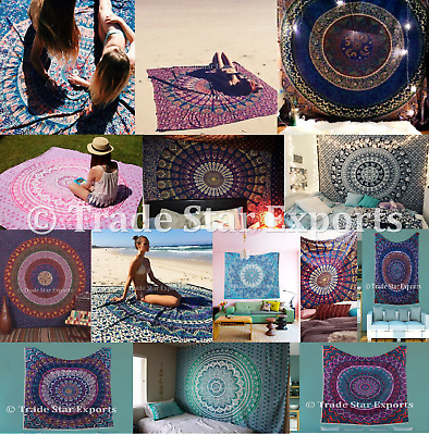 Indian Mandala Tapestry Hippie Throw Bedspread Bohemian Decor Queen Wall Hanging