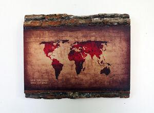 WOODEN WORLD MAP - Wood Wall Art - Decorative Wood Sign - Rustic ...