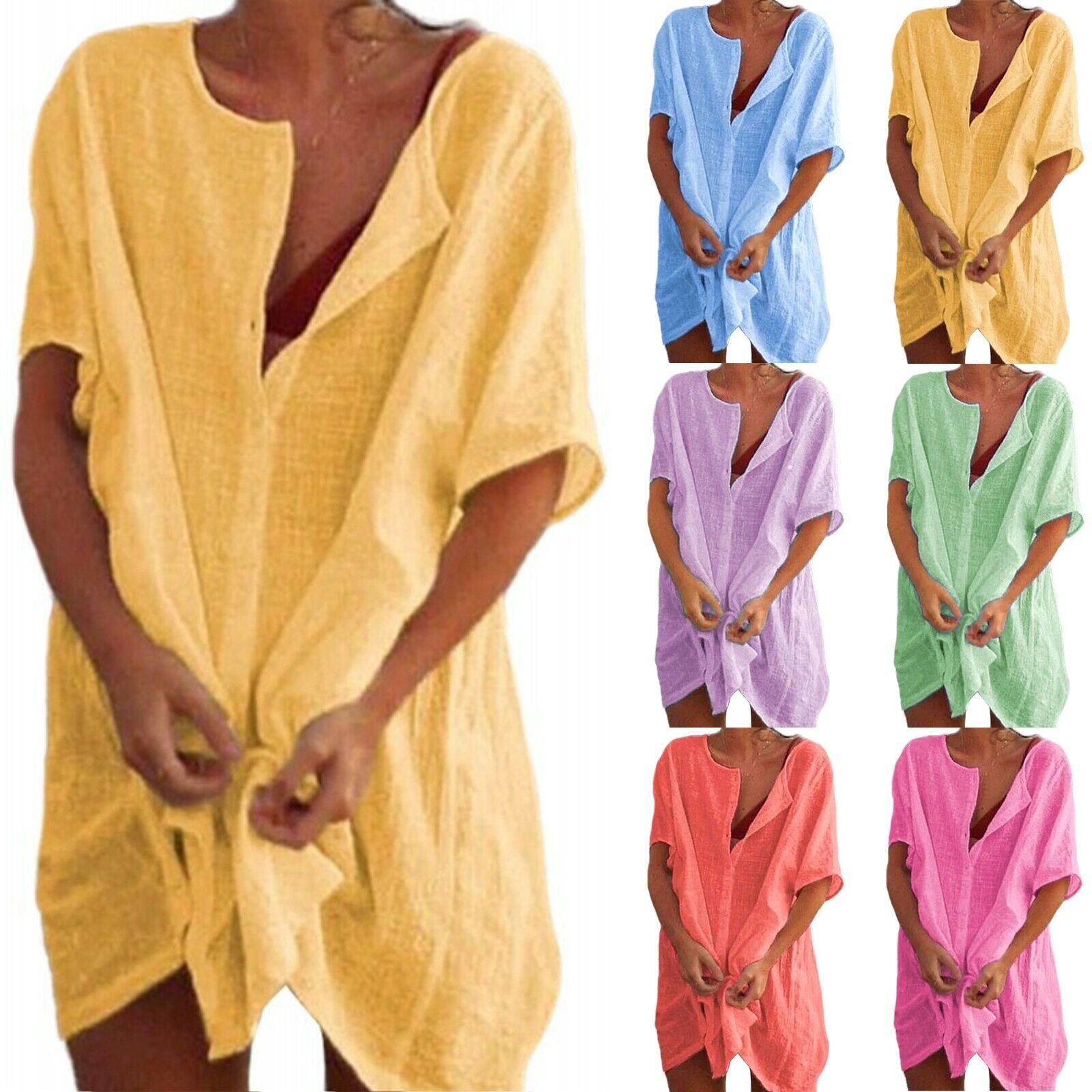 Plus Size Womens Cotton Linen Summer Beach Mini Dress Holiday T-Shirt Tunic Tops