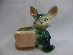 Vintage Bunny Rabbit Pushing A Cart Pottery Planter Green
