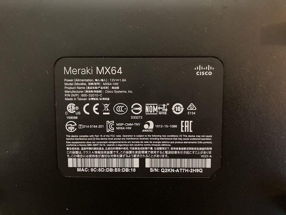 Firewall, Cisco Meraki MX64 Firewall, Perfekt