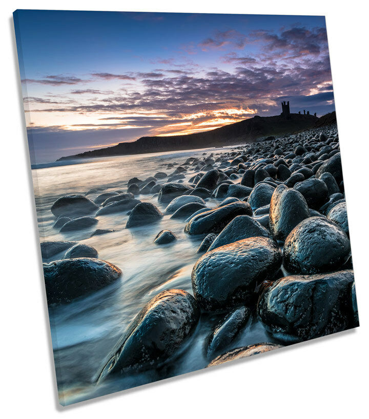 Dunstanburgh Castle Sunset SQUARE CANVAS WALL WALL WALL ART Picture Print 6bdb55