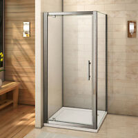 760x900 Shower Enclosure 6mm Glass Pivot Door+side Panel+ Stone Tray Free Waste