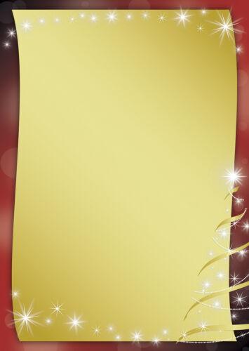 Motivpapier Briefpapier Weihnachten schwarz rot gold 50 Blatt A4 Sterne stars