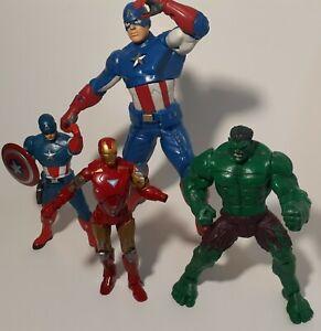 Marvel Comics Lot Of 4  Action Figures Talking Captain America, Hulk, Iron Man