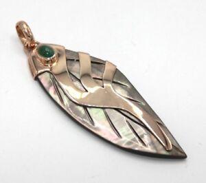 Smaragd-amp-Perlmutt-Anhaenger-925er-Silber