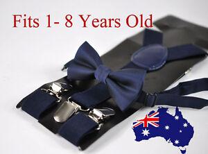 BOYS-KIDS-NAVY-BLUE-Braces-Elastic-Suspenders-Bowtie-Bow-Tie-1-8-Years-Old