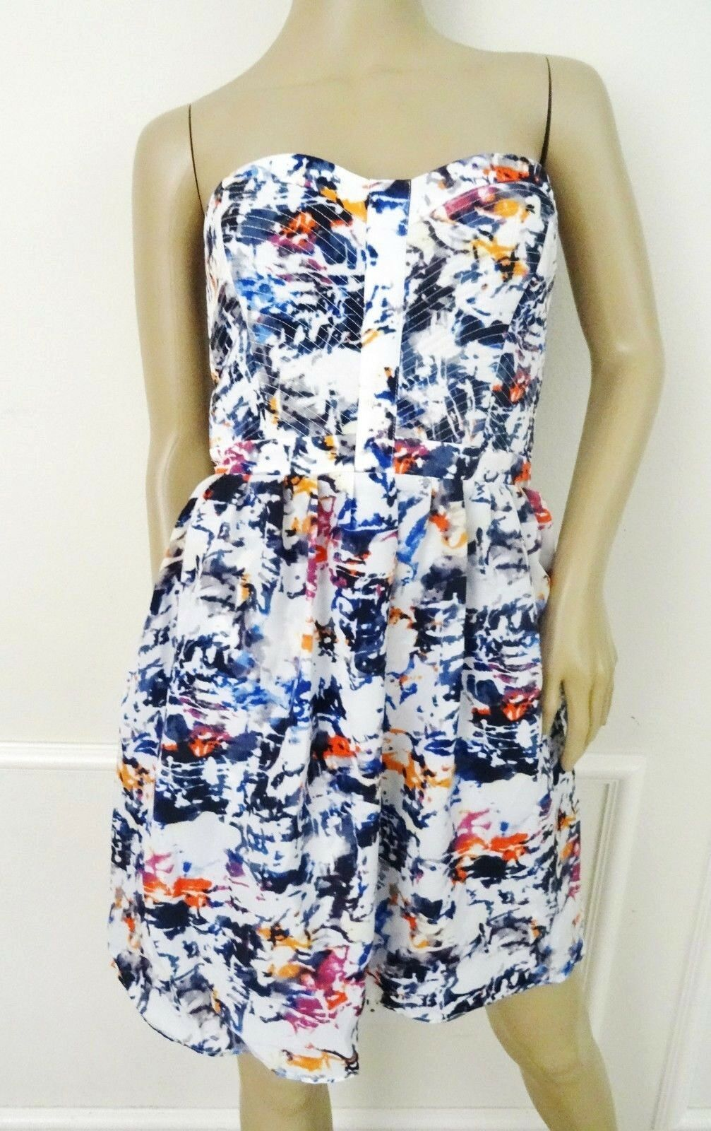 Nwt Parker Lily Silky Party Fit Flare Dress Sz M Medium Pollock Weiß Print