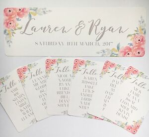 Image Is Loading Fl Wedding Table Seating Plan Tags Header Card