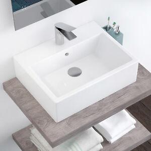 Lavandino lavabo bagno da appoggio cm 53 x 41 bianco in ceramica monoforo arredo ebay - Lavandino da incasso bagno ...