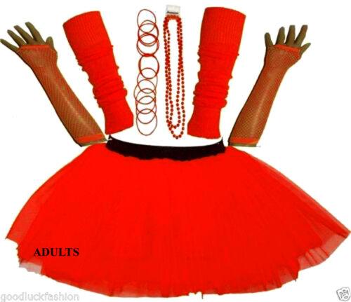 NEW GIRL/'S NEON UV TUTU GLOVES LEG WARMERS BEADS BANGLES FANCY DRESS HEN PARTY
