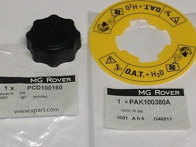 GENUINE MG ROVER MGF MG TF ZR COOLANT EXPANSION TANK CAP OAT LABEL PCD100160