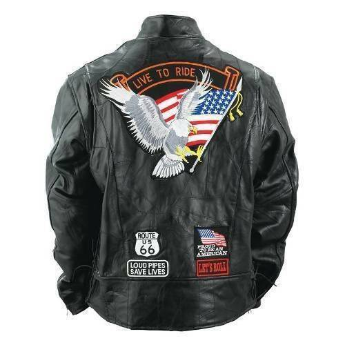 Mens Buffalo Leather Jacket Biker Motorcycle Harley Rider Eagle USA Flag Patches