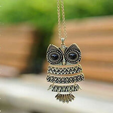 Fashion Vintage Style Bronze Owl Long Chain Necklace Pendant Women Jewelry