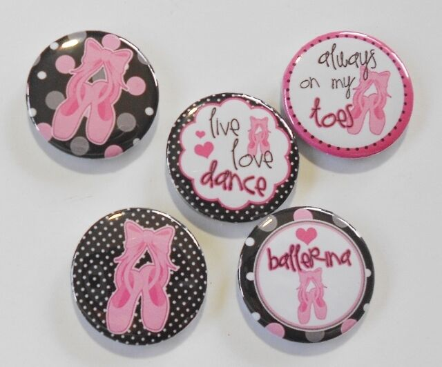 "Ballet Dance Flatback - Pin Back Buttons 1"" for Bows Embellishments"