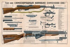 Color-POSTER-Of-Soviet-Russian-SKS-45-Carbine-Simonov-7-62x39-LQQK-amp-BUY-NOW