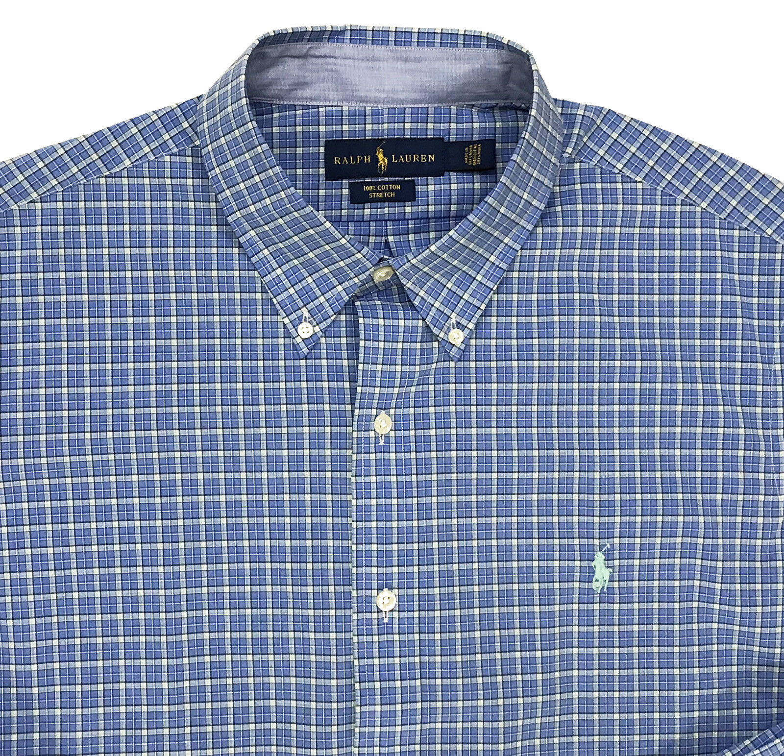 Men's RALPH LAUREN bluee Green + Plaid Shirt Cotton Stretch 2XB 2X 2XL BIG NWT