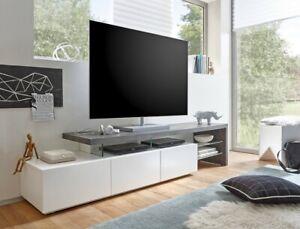 Lowboard 204x40x44 Cm Weiss Beton Dekor Tv Board Tv Mobel Tv Schrank Alessa Ii Ebay
