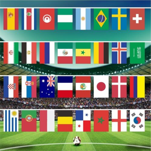 World Cup Soccer Flag Set of 32 Country Flags for 2018 FIFA 40ft String Flag