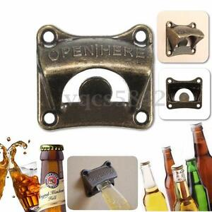 Zinc alloy Wall Mount Bar Wine Beer Soda Glass Cap Bottle Opener Tool Open Here