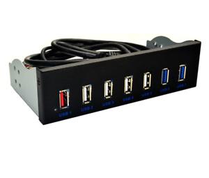 "7 Ports Usb 3.0 Hub 5Gbs 5.25/"" Cd-Rom Drive Bay Cd Rom Front Panel For Compu 649"