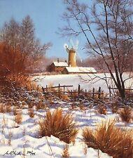 """BILL MAKINSON """"Winter's Rest"""" windmill snow SGD LIMITED SIZE:41cm x 35cm NEW"""