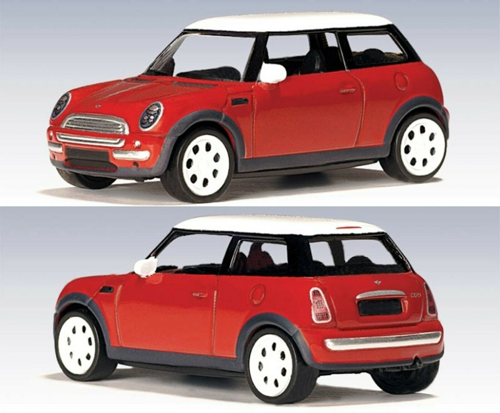 WOW EXTREMELY RARE Mini Cooper 1.6 Red White 2001 1 43 Auto Art-Minichamps ΒΜW