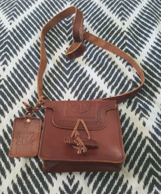 ZARA Brown Tooled Embossed Mini Leather Shoulder Cross Body Bag Boho Handbag B41