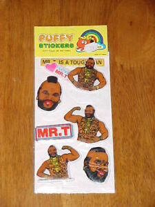 Rare-1983-Mr-T-PUFFY-Stickers-MINT-ON-CARD
