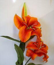 4 Stems Giant Orange Tiger Lily Sprays 127cm Tall Artificial Silk Flowers Offer