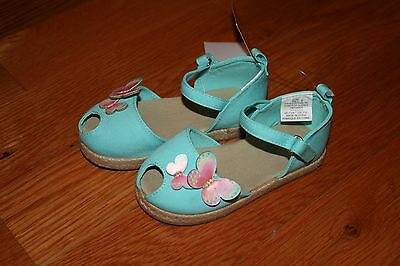 NWT Gymboree Butterfly Catcher Size 10 Blue Canvas Butterfly Sandals Shoes