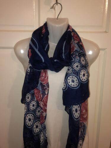 spalla Wrap foulard triangolare Le donne Navy blu floreale stampato lunghi moda coprispalle Warp ha rubato