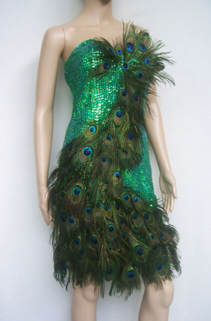 EVITA PG Vegas Showgirl Drag Peacock Feather Dress S-XL