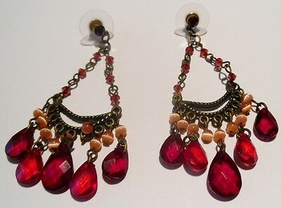 Bijou Vintage Boucles D'oreilles Percées Rétro Rouge Perle Nacré Rosé 1672