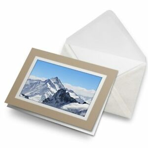 Greetings-Card-Biege-Awesome-Snowy-Mountain-Ski-Skiing-8490