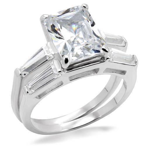 B6x006 Emerald Wedding & Engagement Ring Set 2ct Sainless Steel Engagement Band