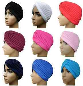 Lady-Stretchy-Cap-Turban-Head-Wrap-Band-Chemo-Bandana-Hijab-Pleated-Indian-Hats
