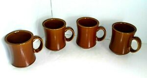 Vintage-Set-of-4-Delco-Atlantic-China-Brown-Coffee-Mugs-Cups-Restaurant-Ware