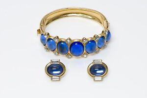 fcf42532e5b Yves Saint Laurent YSL Gold Tone Blue Glass Bracelet Earrings Set | eBay