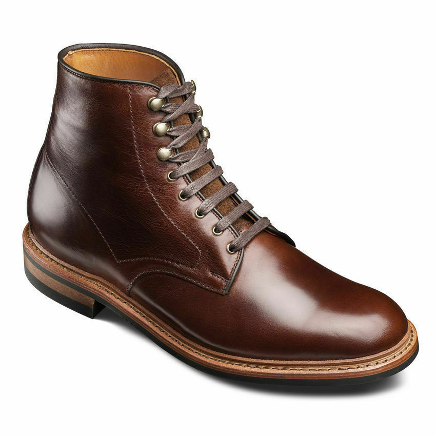 Mens Handmade Boots Brown Leather Plain Toe Lace Formal Wear Casual Dress shoes