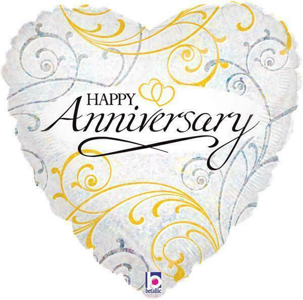 """Oaktree 18/"""" Foil Balloon Happy Anniversary Linked Hearts"""