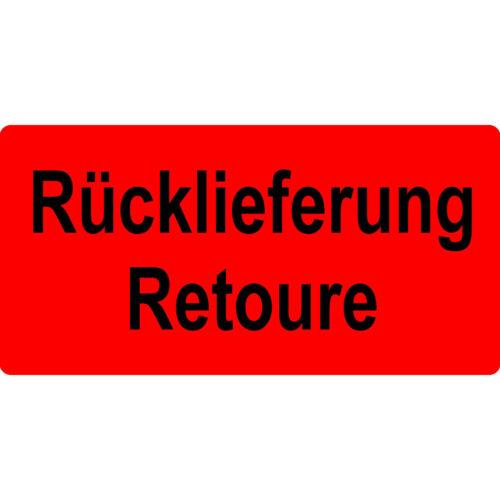 1000 Versandaufkleber rot 100x50 mm Rücklieferung//Retoure Warnetiketten