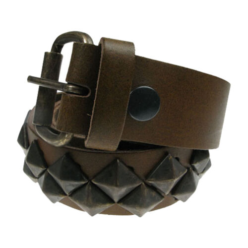 "38mm Diagonal Pyramid Design Real Leather Handmade Belt In England Sizes 28/""-44/"""