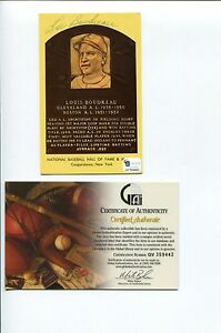 Lou-Boudreau-Cleveland-Indians-1948-WS-HOF-Signed-Autograph-Postcard-Photo-COA