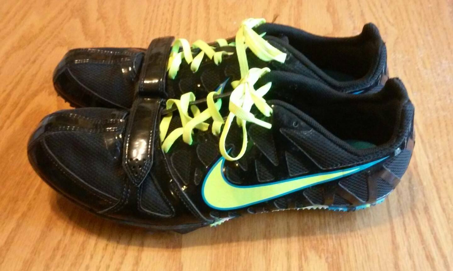 Nike Zoom Rival S 6 Running Sprint Track Shoes Mens 10.5 Field Spike Black  Neon