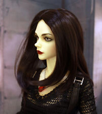 "1/3 bjd 9-10"" doll head deep brown synthetic mohair wig Luts Pullip W-JD78XL"
